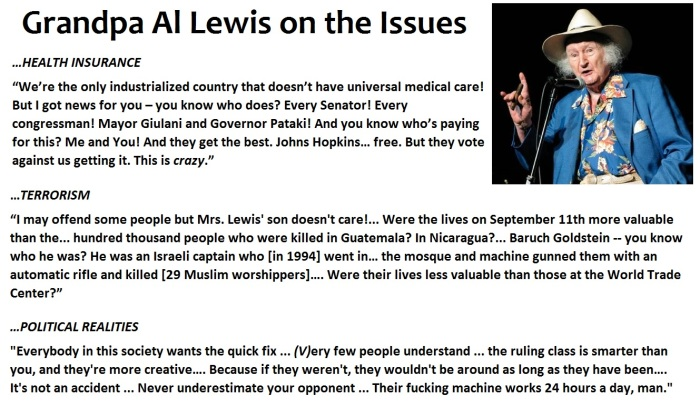 Grandpa Al Lewis on the issues